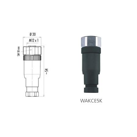 Connecteur à confectionner AGRO M12 5 pts Droit Femelle
