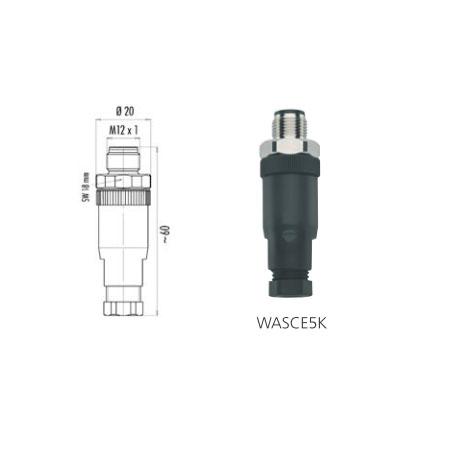 Connecteur à confectionner AGRO M12 5 pts Droit Male