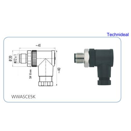 Connecteur à confectionner AGRO M12 5 pts Coude Male